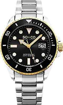 SO&CO New York Men's 5025.3 Yacht Black Dial Date Link Bracelet Watch