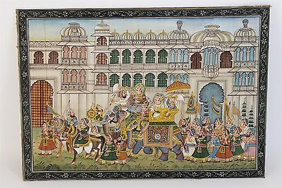 Vintage Hand Painted Fine Indian Artwork Elephant Parade Painting on Silk