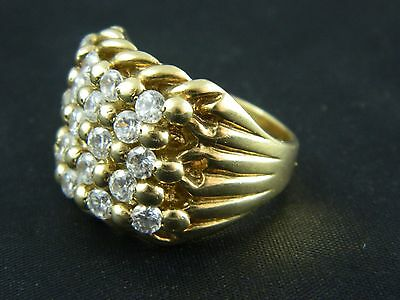 9ct Gold Hallmarked Mens Heavy Stone Set Keeper Ring 22.1g, Saddle,Buckle, Knot
