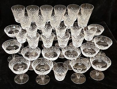 (34) WATERFORD ALANA CRYSTAL Water Goblets, Wine & Champagne Sherbet Glasses