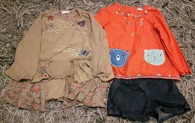 2 girls outfits, Next dress, M & S shorts and tunic, aged 2-3.