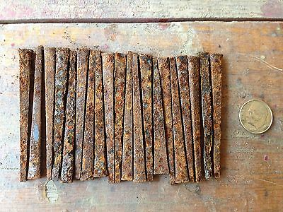 "Lot of 20  2 1/2"" Rusty Square Head Nails Great color Steampunk repurpose"
