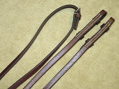 """GUC~Velvety HIGH QUALITY English 3/8"""" Wide Plain Leather Reins~99"""" Long~ENGLAND?"""