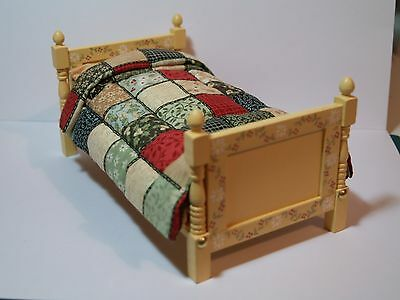 Dolls House Miniature Handmade Single Bed in 1:12 Scale