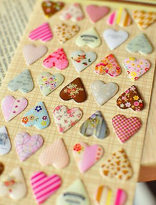 VINTAGE HEART STICKERS Decoration Craft Retro Party Love Wedding Card Making