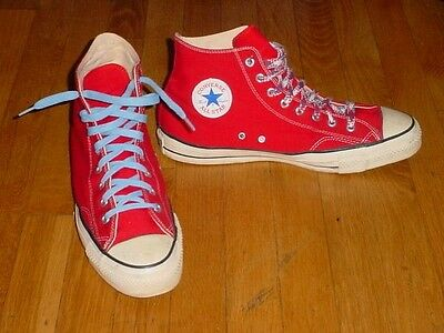 Vintage 70s Converse USA Made RED Canvas Chuck All Star HIGH Top Shoes 13 Mens