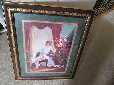 """Home Interior Picture """"mother May I Play"""" Designer Series Cherry Frame With Gold"""