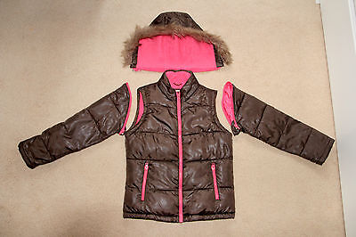 MINI BODEN 9 10 Y GIRL'S Warm fleeced JACKET COAT GILET removable sleeves hood