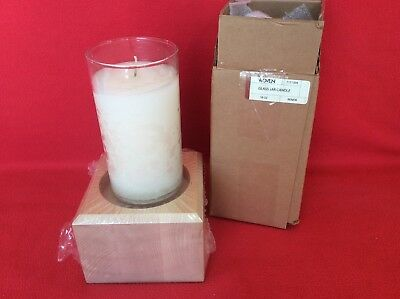Renew 18 oz Glass Ivory Candle Jar & Woodcrafts Holder Longaberger New IN HAND