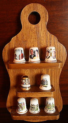 Lot of 8 England London Royal Family Collectible Sewing Thimble with display