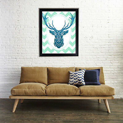 Deer Chevron Girly Decor 16 X 20 max Poster Matte Print