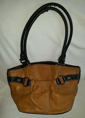 Tignanello Two Tone Tan Brown Leather Purse Hobo Handbag