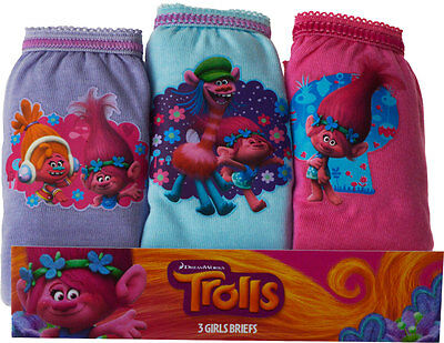 New Official Licensed Girls Trolls Pants Briefs 3 Pack Age 3-4 5-6 7-8 Years