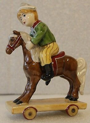 Villeroy & Boch Christmas Ornament With Box Little Boy Playing On Pony Toy