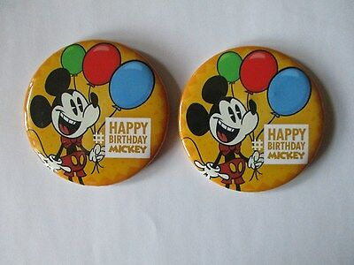 Two (2) Walt Disney Park Happy Birthday Mickey Mouse Buttons - Button Pin Badge