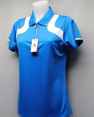 Ladies Antigua Desert Dry Xtra Lite polyester Surf Blue/White golf shirt Medium