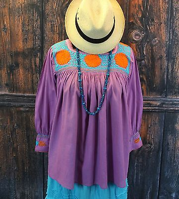 Purple, Turquoise & Orange Hand Embroidered Blouse Mayan Chiapas Mexican Cowgirl