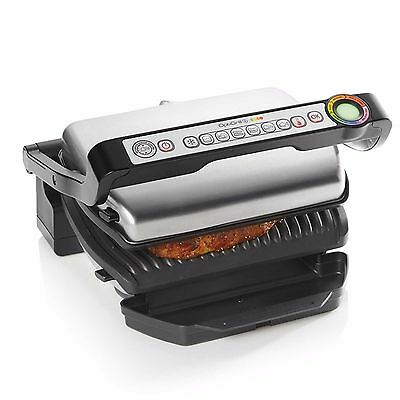 T-Fal Gc712 + Optigrill Plus Stainless Steel Indoor Electric Grill Gc712D53 New!