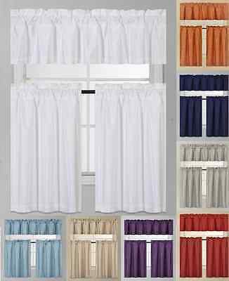 3Pc K3 Solid Kitchen Window Foam Lined Blackout Curtain Set 2 Tiers + 1 Valance