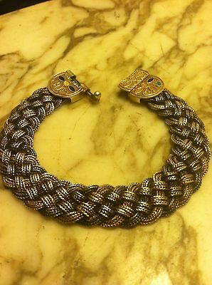 1930's India Sterling Silver Heavy Braided Bracelet