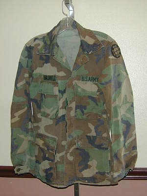 SHIRT Authentic Woodland Camo US Army Seen Action Official S Mens+3 Patches Cool