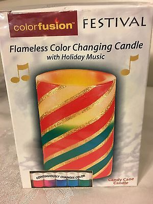 Color Fusion Festival Flameless Color Changing Candle With Holiday Music