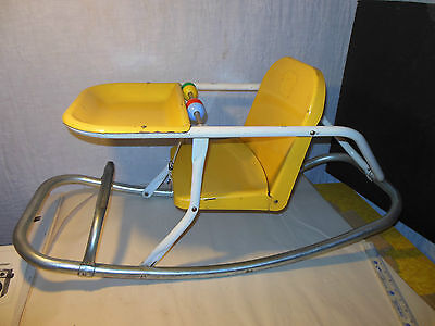 Vintage Metal Chrome Yellow Childs Rocker Chair Toddler Baby Mid-Century Seat Nr