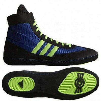 Adidas Combat Speed 4 Blue, Lime Green & Black wrestling shoes