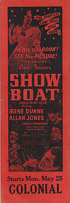 """Jerome Kern """"SHOW BOAT"""" Irene Dunne / Paul Robeson 1936 Chicago Promo Bookmark"""