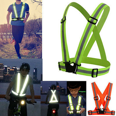 Reflective Adjustable Safety Security Visibility Vest Gear Sport Stripes Cycling