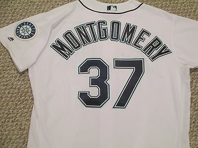 Mike Montgomery SZ 50 #37 2016 Seattle Mariners game used jersey Home White holo