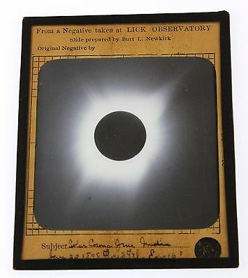 Lick Observatory Orig Magic Lantern Photo 1898 Solar Eclipse Taken in India Asia