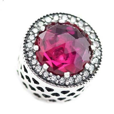 RADIANT HEARTS Cerise Charm 925 Solid Sterling Silver Bead & Free Pandora Cloth