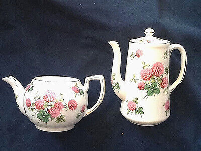 "Vintage Teapot & Coffee Pot - Hammersley & Co Bone China ""Clover"" Pattern #4177"