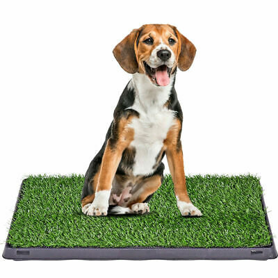 "25""x20"" Puppy Pet Potty Training Pee Indoor Toilet Dog Grass Pad Mat Turf w/Tray"
