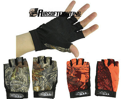 1 Pair Camouflage Anti-Slip Hunting Fishing Camping Cycling Half Finger Gloves
