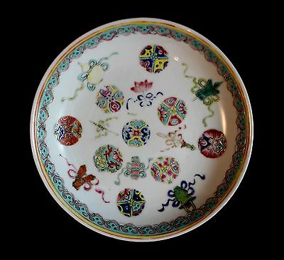 Antique Chinese Famille Rose Porcelain Plate Guangxu Period 19th Century Straits