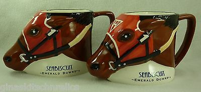 Seabiscuit Emerald Downs Horse Racing Derby Limited Edition 2003 Set of 2 Mugs