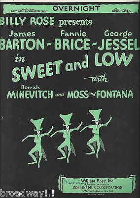 """Fannie Brice """"SWEET and LOW"""" George Jessel / Lou Alter 1930 Broadway Sheet Music"""