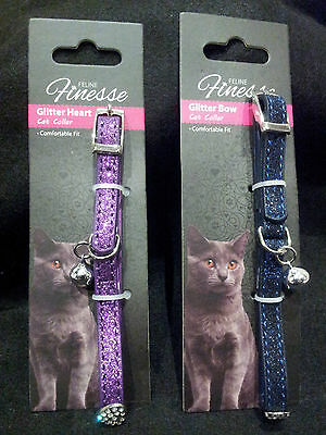 Happypet Cat Collars-Glitter Faux Leather/Safety Catch/Kitten/Puppy/Toy Dog