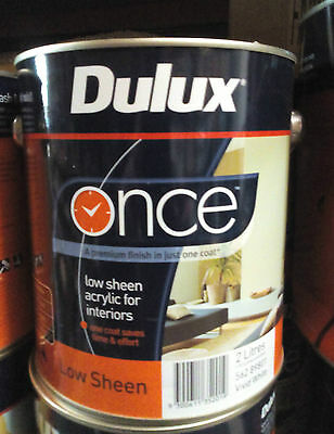 Dulux Once Washable Paint White Interior 2L Low Sheen Can Freight