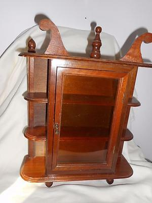 Vtg Small Curio Display Wall Table Cabinet 3 Shef