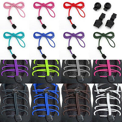1Pair No-Tie Strong Elastic Canvas Sports Shoe Laces Bootlace Lock Shoelaces UK