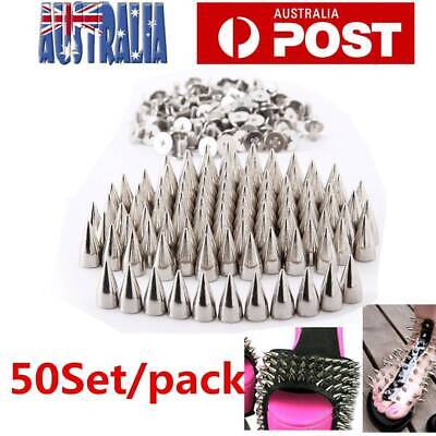 50 Set Punk Rock Style Cloth Spots Cone Screw Metal Studs Rivet Bullet Spikes