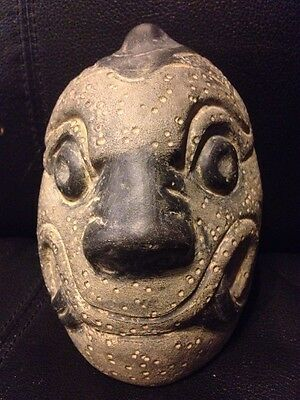 Precolumbian Clay Ceramic  Pottery Figure Head
