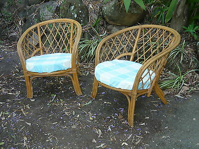 2x Vintage Cane Lounge Chairs ~ Retro 70s Beach House Outdoor Bamboo Furniture