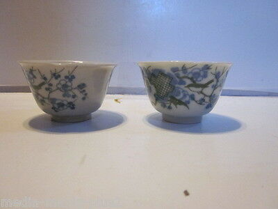 2 Vintage Flow Blue & Green Chinese Small Tea Cups Bird In Tree Design