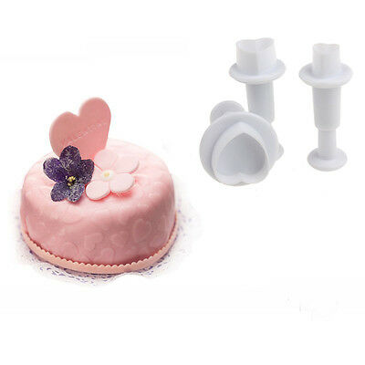 6Pcs Heart Fondant Cookies Tools Sugar Paste Plunger Cutters Cake Mold Mould Hot