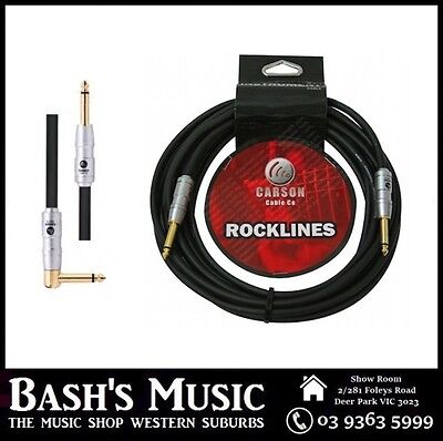 Carson Guitar Cable Lead 20FT Heavy Duty Straight to Angle Noiseless