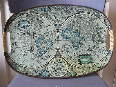 Vintage Collectable 1960's Old World Map Serving Tray